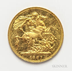 1887 Jubilee Head British Gold Sovereign.     Estimate $200-400