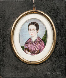 American School, 19th Century      Portrait of a Young Woman in a Purple Dress