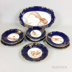 Eight-piece Limoges Porcelain Transfer-decorated Bird Game Set