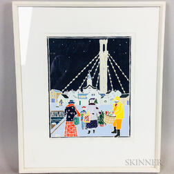 Framed Ruth Hogan Woodblock Christmas in Provincetown II