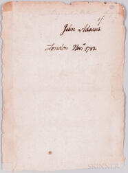 Adams, John (1735-1826) Signature, London, November 1783.