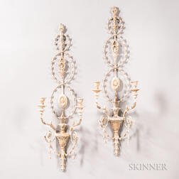 Pair of Painted Two-light Wall Sconces