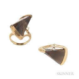 14kt Gold, Smoky Quartz, and Diamond Ring and Brooch