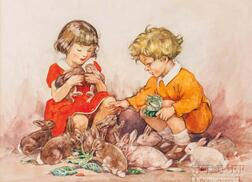 Helen Jacobs (British, 1888-1970)    The Children and the Rabbits