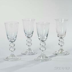 Four Large Colorless 18th Century-style Ale Glasses