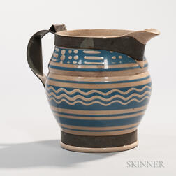 Pearlware Jug with Tinsmith's Make-do Repair