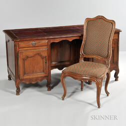 Louis XV-style Leather-top Fruitwood Desk and Chair