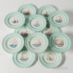 Set of Twelve Royal Crown Derby Porcelain Cabinet Plates with Hand-painted Yachting Scenes