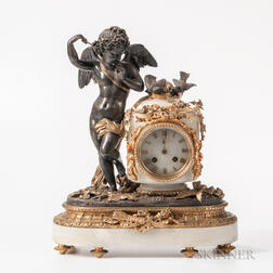 Gilt and Patinated Bronze-mounted Onyx Mantel Clock