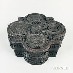 Carved Black-lacquered Wood Box and Cover