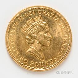 1987 British 50 Pound Gold Coin, KM952.