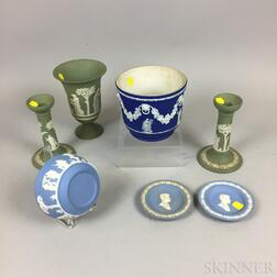 Seven Mostly Modern Wedgwood Jasper Tableware Items