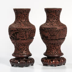 Pair of Carved Faux Cinnabar Lacquered Vases