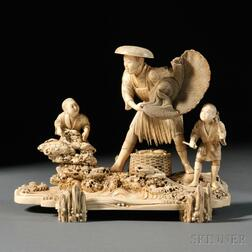 Ivory Okimono of a Fisherman with Two Boys