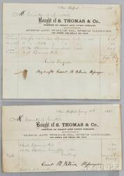 Two S. Thomas & Co. Sperm Whale Product Receipts
