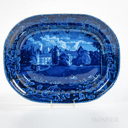 Staffordshire Historical Blue Transfer-decorated Southwest View of La Grange Platter