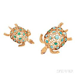 Two 18kt Gold and Turquoise Brooches