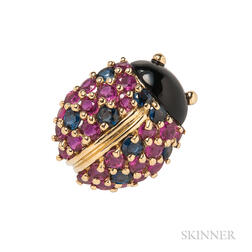 18kt Gold Gem-set Brooch, Jean Vitau