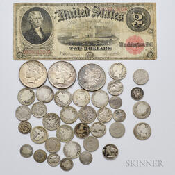 Group of American Coins and a 1917 $2 Legal Tender Note
