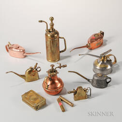 Eleven 19th Century Oil Cans