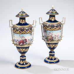 Pair of Sevres-style Porcelain Vases and Covers