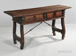 Baroque-style Fruitwood Console