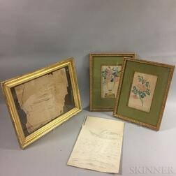 Two Calligraphic Eagles and Two Framed Harriet Wittenmyer Floral Watercolors