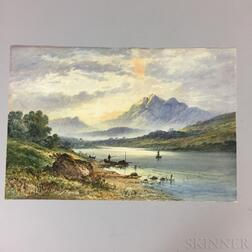 British School, 19th Century       Mountain Landscape with Boats
