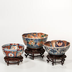 Large Three Imari Bowls and Wood Stands
