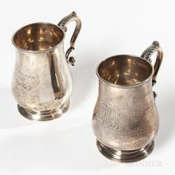 Two Daniel Parker Silver Canns