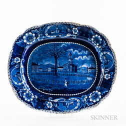 """Large Staffordshire Historical Blue Transfer-decorated """"Winter View of Pittsfield, Mass."""" Platter"""