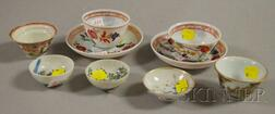 Five Porcelain and Four Painted Glass Dishes and Cups