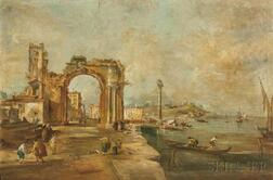 Italian School, 18th Century      Venetian Capriccio with Travelers and Fisherfolk