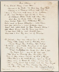 "Cranch, Christopher Pearse (1813-1892), Original Manuscript of the Poem, ""In a Library,"" February 4 & 6, 1879."