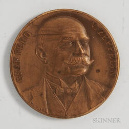 Bronze Mayer and Wilhelm Bronze Medal Commemorating Ferdinand von Zeppelin and the Capture of Liege.     Estimate $40-60
