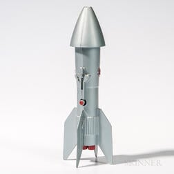 Vintage Cast Metal Rocket Mechanical Bank