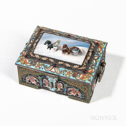 Russian .917 Silver, Cloisonne, and En Plein Enamel Box