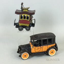 Tin Toonerville Trolley and a Cast Iron Arcade Touring Car