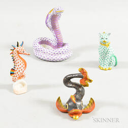 Four Herend Porcelain Animals