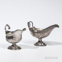 Two American Coin Silver Sauceboats
