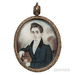 Attributed to Abraham Parsell (New Jersey, b. 1792)      Miniature Portrait of a Young Man