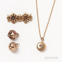 Four Pieces of Antique Gold Jewelry