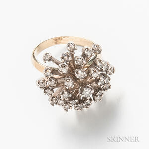 14kt Bicolor Gold and Diamond Cluster Ring