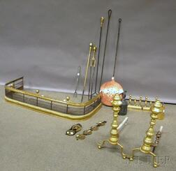 Group of Brass and Iron Fireplace and Hearth Items and Decorative Accessories