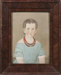 William Matthew Prior (Massachusetts/Maine, 1806-1873)      Portrait of a Girl Wearing a Blue Dress and Coral Necklace