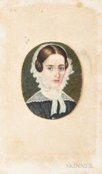 American School, 19th Century      Portrait Miniature of a Woman
