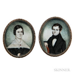 Henry Walton (American, 1804-1865)      Pair of Miniature Portraits of a Man and Wife