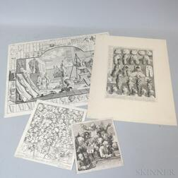 William Hogarth (British, 1697-1764)      Four Unframed Engravings: The Five Orders of Perriwigs...