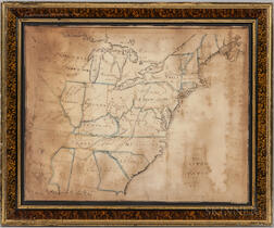 Framed Schoolgirl Watercolor Map of the Eastern United States