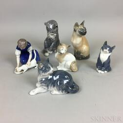 Six Royal Copenhagen, Bing & Grondahl, and Lladro Cats